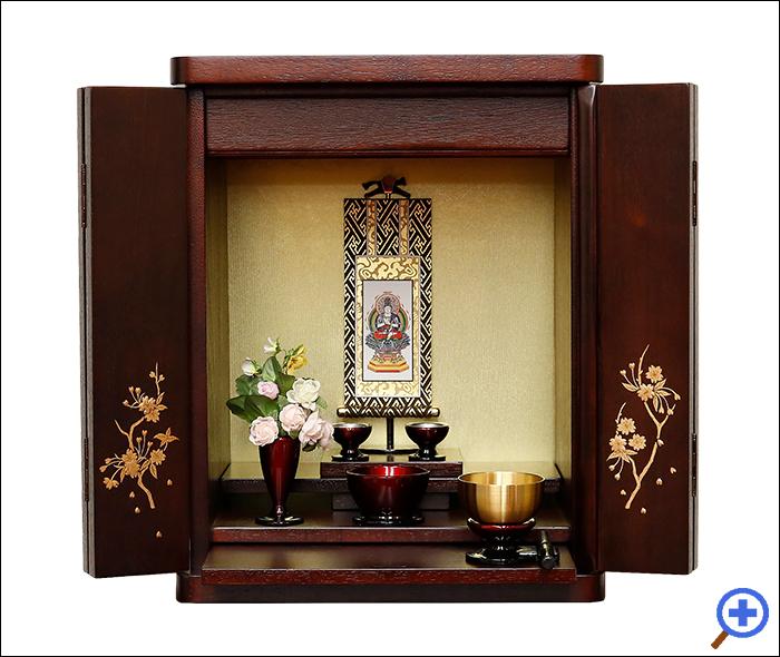 小さいミニ仏壇14号ブロッサム紫檀色-お仏具セットA