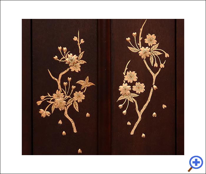 小さいミニ仏壇14号ブロッサム紫檀色-蒔絵拡大